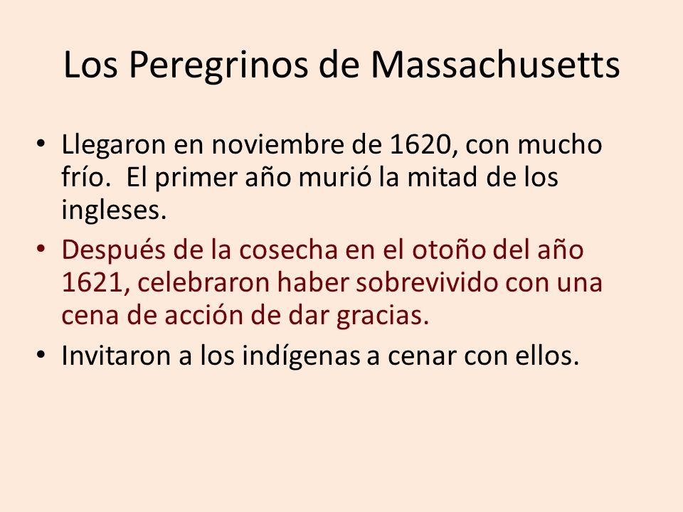 Los Peregrinos de Massachusetts Llegaron en noviembre de 1620, con mucho frío. El primer año murió la mitad de los ingleses. Después de la cosecha en