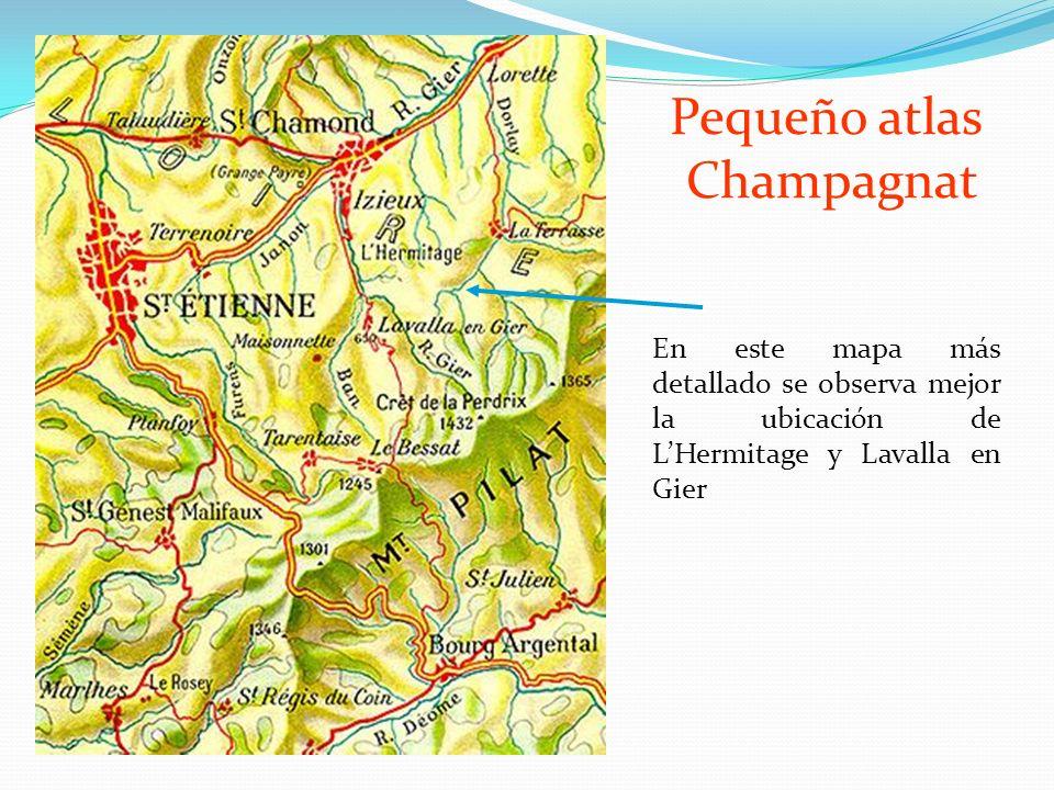 En este mapa más detallado se observa mejor la ubicación de LHermitage y Lavalla en Gier Pequeño atlas Champagnat