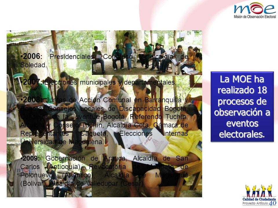 2006 : Presidenciales, Congreso y alcaldía de Soledad. 2007 : Elecciones municipales y departamentales. 2008: Juntas de Acción Comunal en Barranquilla