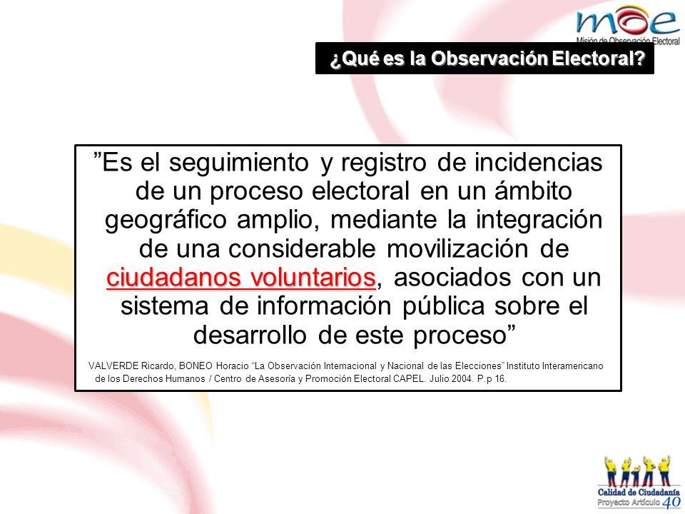 ¿Qué es la Observación Electoral? ciudadanos voluntarios Es el seguimiento y registro de incidencias de un proceso electoral en un ámbito geográfico a