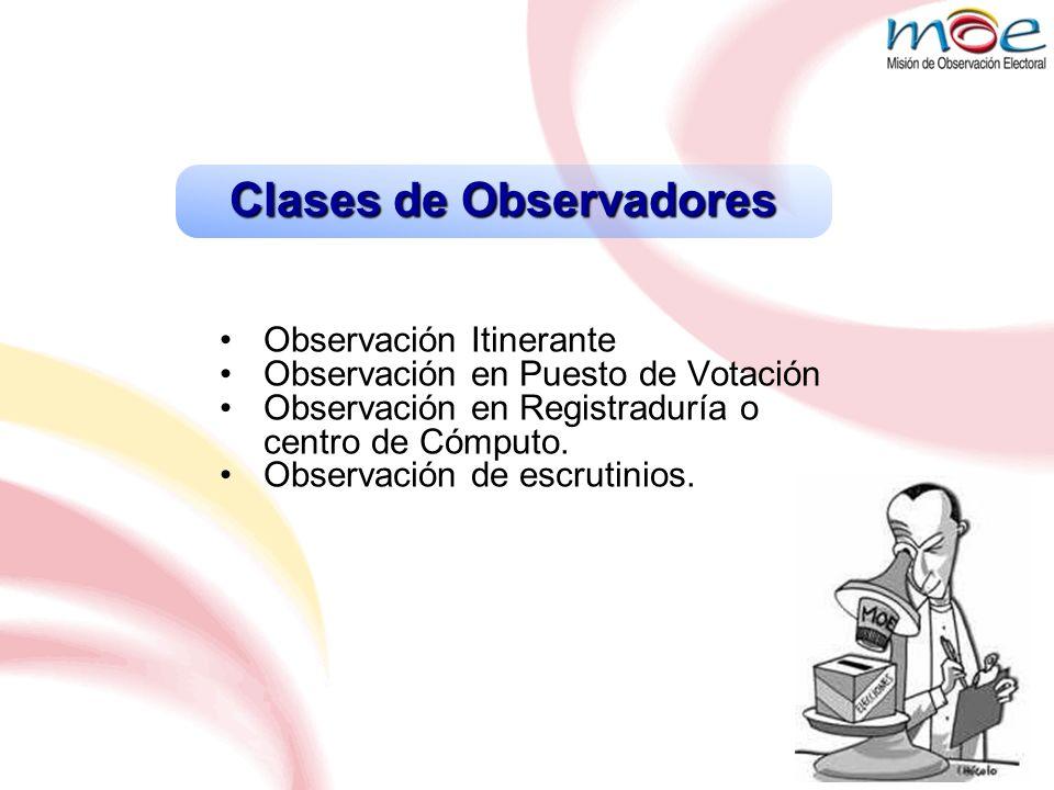 Clases de Observadores Observación Itinerante Observación en Puesto de Votación Observación en Registraduría o centro de Cómputo. Observación de escru