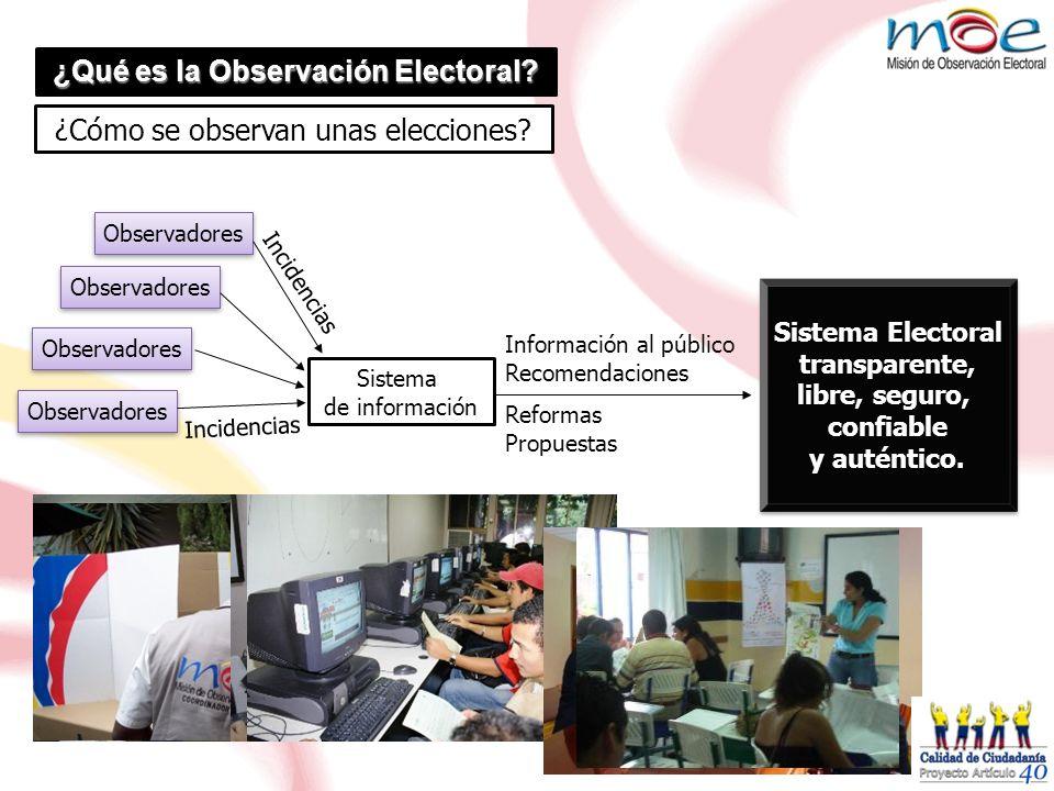 Observadores Sistema de información Observadores Incidencias Información al público Recomendaciones Reformas Propuestas Sistema Electoral transparente