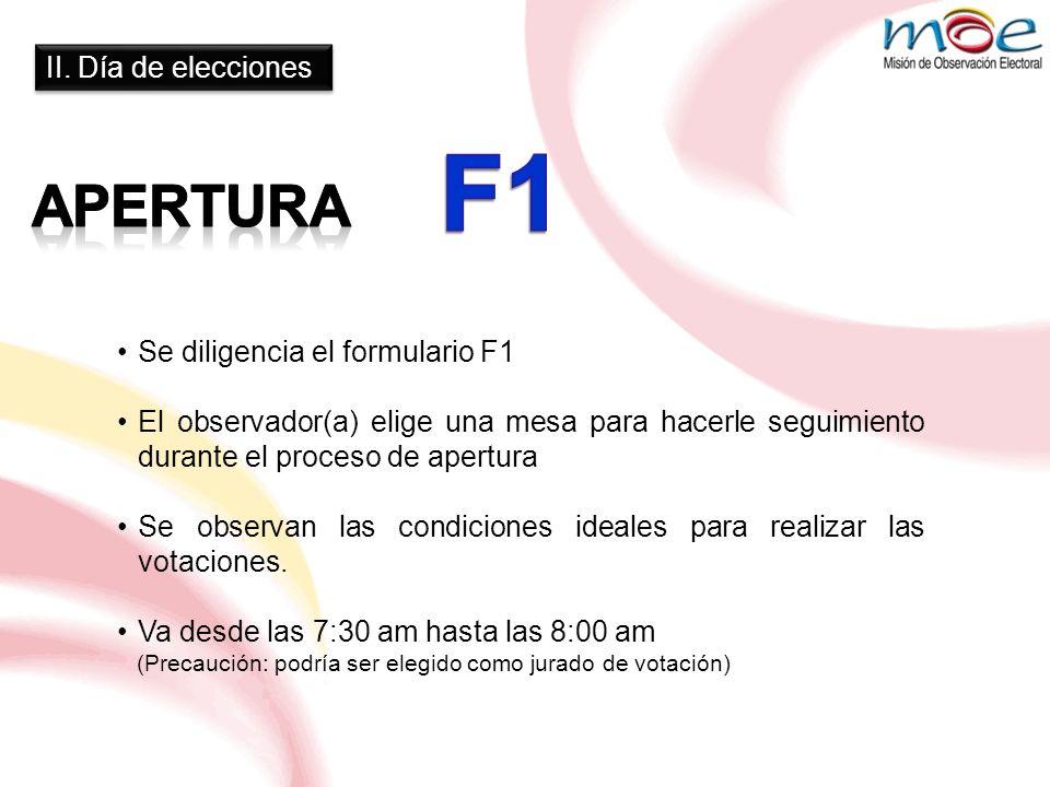 II. Día de elecciones Se diligencia el formulario F1 El observador(a) elige una mesa para hacerle seguimiento durante el proceso de apertura Se observ