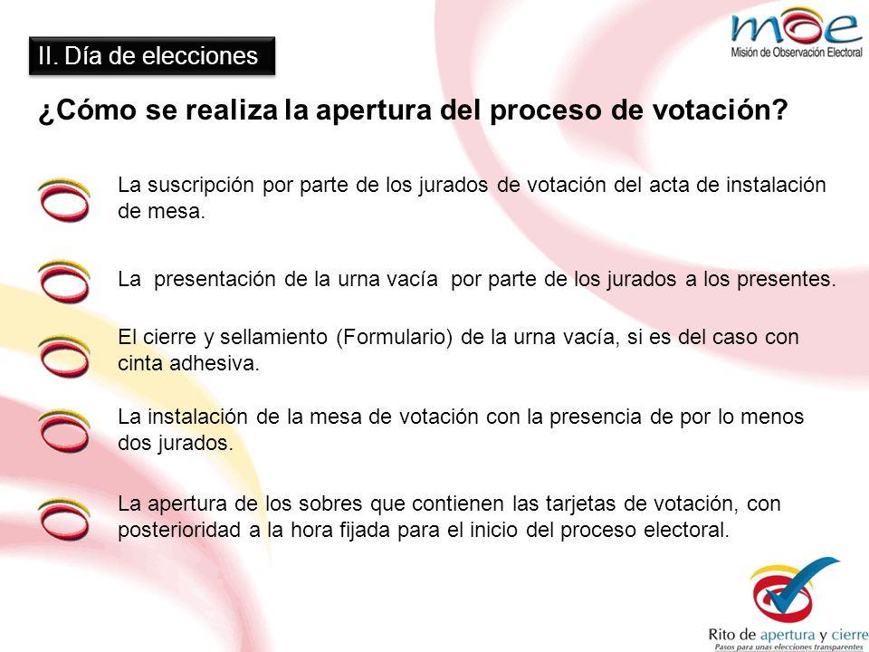 II. Día de elecciones ¿Cómo se realiza la apertura del proceso de votación? La apertura de los sobres que contienen las tarjetas de votación, con post
