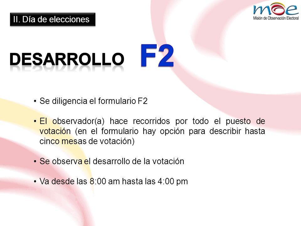 II. Día de elecciones Se diligencia el formulario F2 El observador(a) hace recorridos por todo el puesto de votación (en el formulario hay opción para