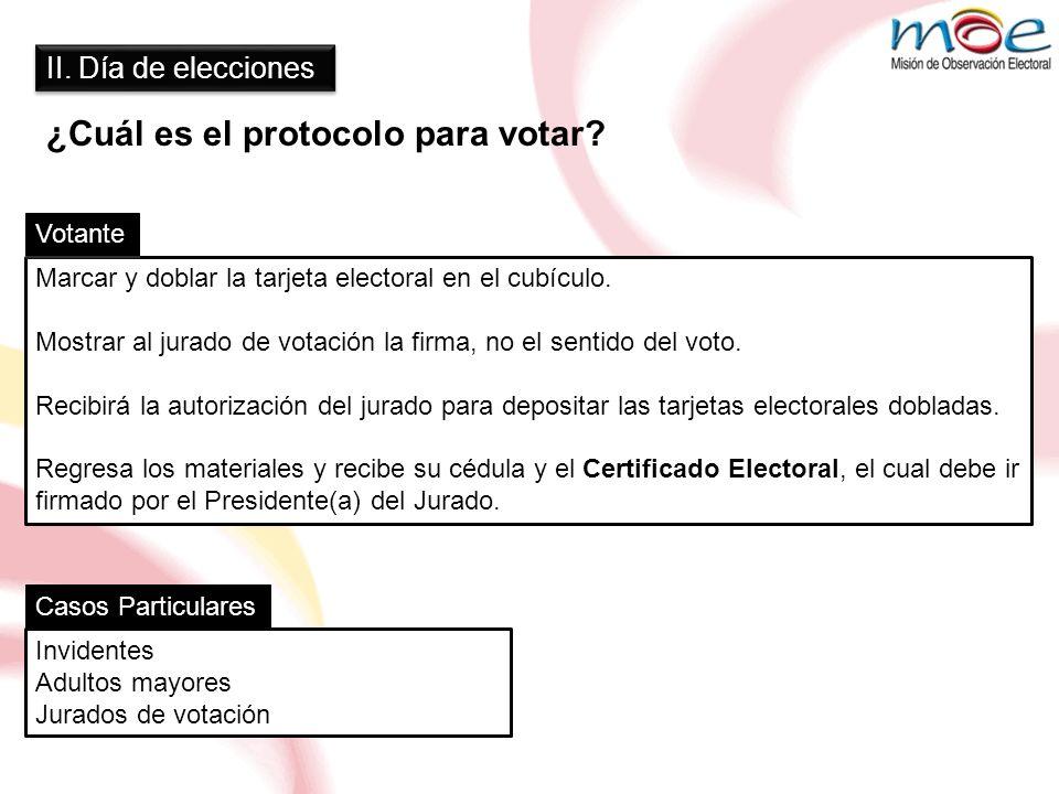 II. Día de elecciones ¿Cuál es el protocolo para votar? Marcar y doblar la tarjeta electoral en el cubículo. Mostrar al jurado de votación la firma, n