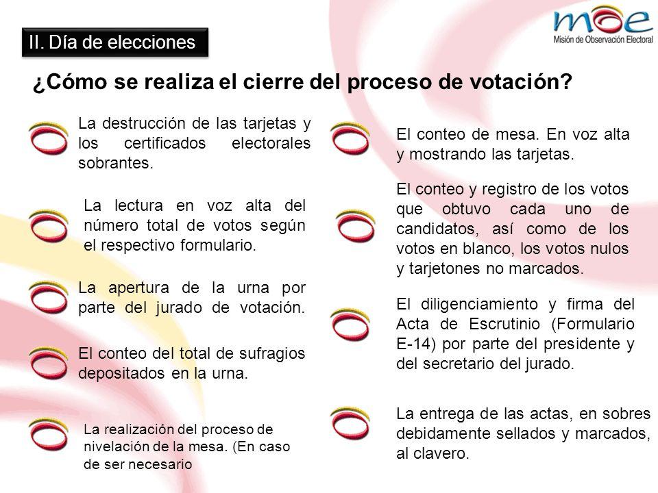 ¿Cómo se realiza el cierre del proceso de votación? La realización del proceso de nivelación de la mesa. (En caso de ser necesario La entrega de las a