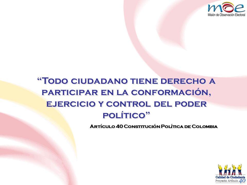 Todo ciudadano tiene derecho a participar en la conformación, ejercicio y control del poder político Artículo 40 Constitución Política de Colombia Tod