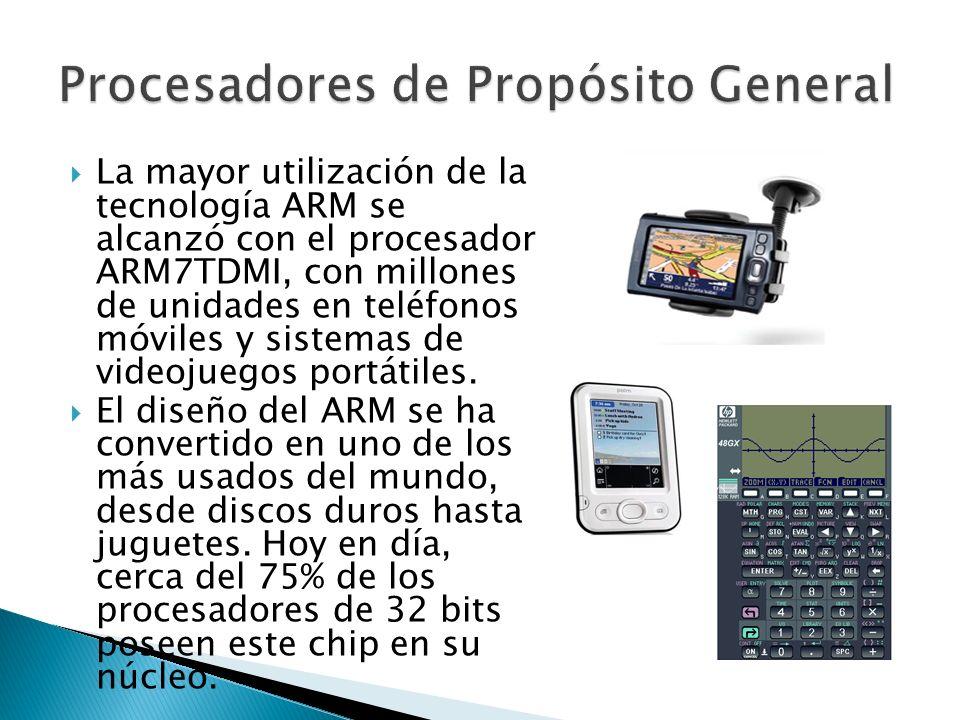 La mayor utilización de la tecnología ARM se alcanzó con el procesador ARM7TDMI, con millones de unidades en teléfonos móviles y sistemas de videojuegos portátiles.