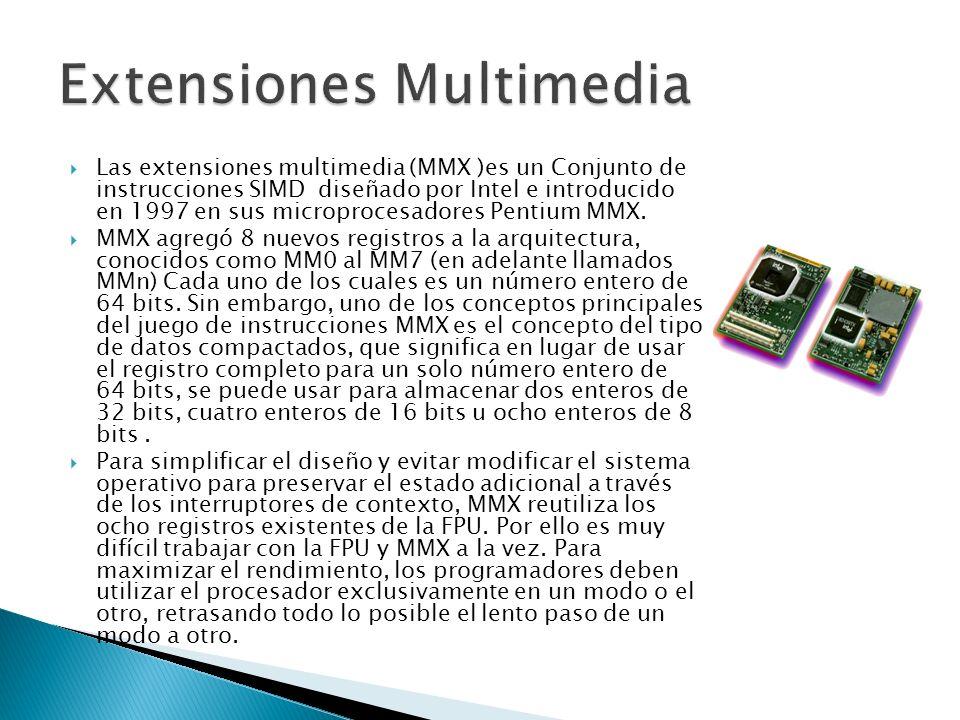 Las extensiones multimedia (MMX )es un Conjunto de instrucciones SIMD diseñado por Intel e introducido en 1997 en sus microprocesadores Pentium MMX.