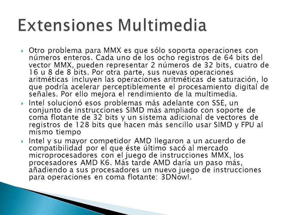 Otro problema para MMX es que sólo soporta operaciones con números enteros. Cada uno de los ocho registros de 64 bits del vector MMX, pueden represent