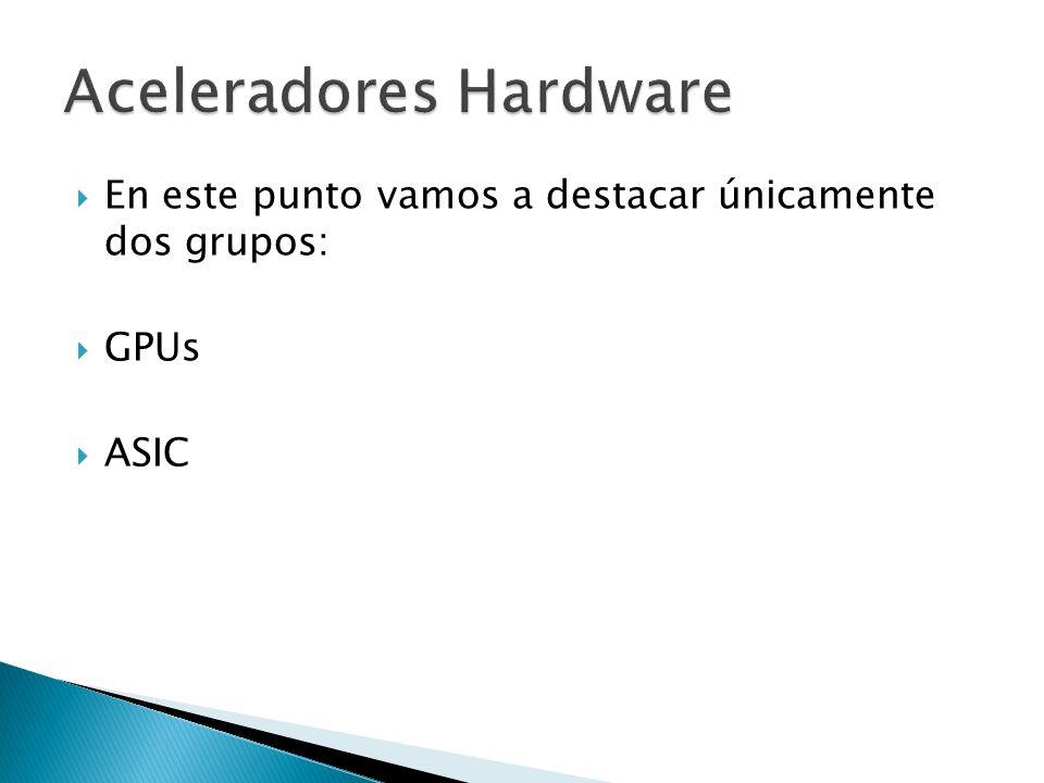 En este punto vamos a destacar únicamente dos grupos: GPUs ASIC