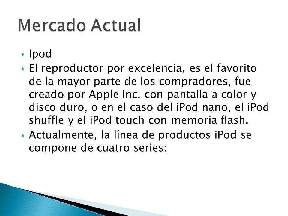 Ipod El reproductor por excelencia, es el favorito de la mayor parte de los compradores, fue creado por Apple Inc. con pantalla a color y disco duro,