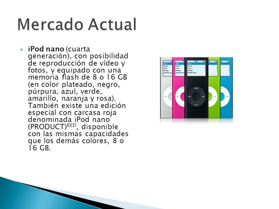 iPod nano (cuarta generación), con posibilidad de reproducción de vídeo y fotos, y equipado con una memoria flash de 8 o 16 GB (en color plateado, neg