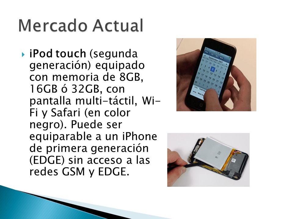 iPod touch (segunda generación) equipado con memoria de 8GB, 16GB ó 32GB, con pantalla multi-táctil, Wi- Fi y Safari (en color negro). Puede ser equip