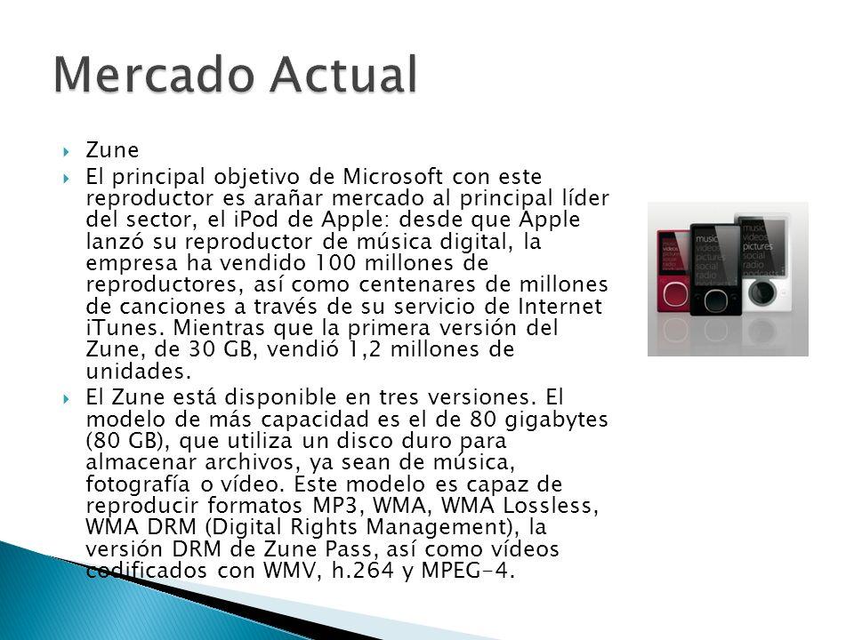 Zune El principal objetivo de Microsoft con este reproductor es arañar mercado al principal líder del sector, el iPod de Apple: desde que Apple lanzó su reproductor de música digital, la empresa ha vendido 100 millones de reproductores, así como centenares de millones de canciones a través de su servicio de Internet iTunes.