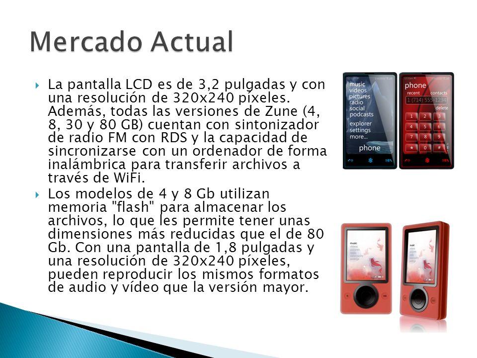 La pantalla LCD es de 3,2 pulgadas y con una resolución de 320x240 píxeles. Además, todas las versiones de Zune (4, 8, 30 y 80 GB) cuentan con sintoni
