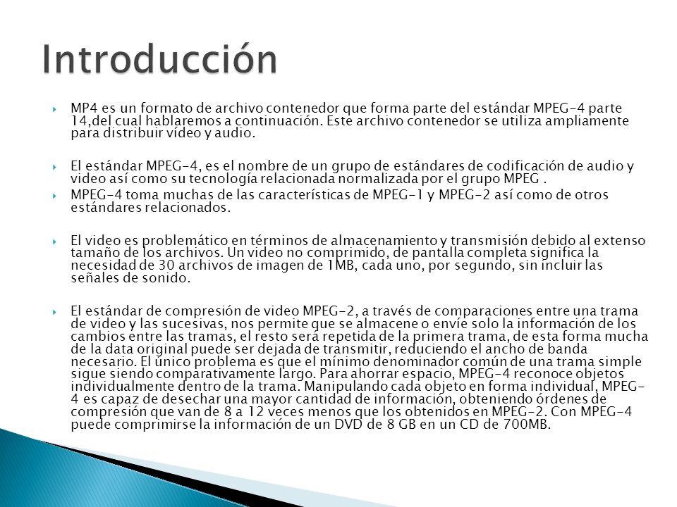 MP4 es un formato de archivo contenedor que forma parte del estándar MPEG-4 parte 14,del cual hablaremos a continuación. Este archivo contenedor se ut