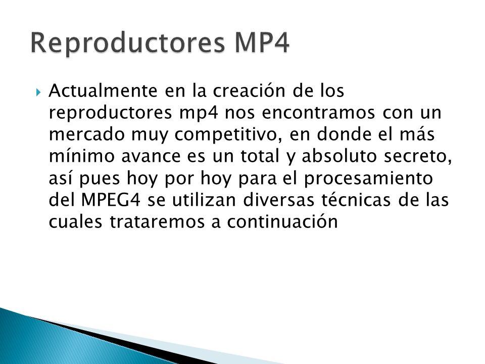 Actualmente en la creación de los reproductores mp4 nos encontramos con un mercado muy competitivo, en donde el más mínimo avance es un total y absoluto secreto, así pues hoy por hoy para el procesamiento del MPEG4 se utilizan diversas técnicas de las cuales trataremos a continuación
