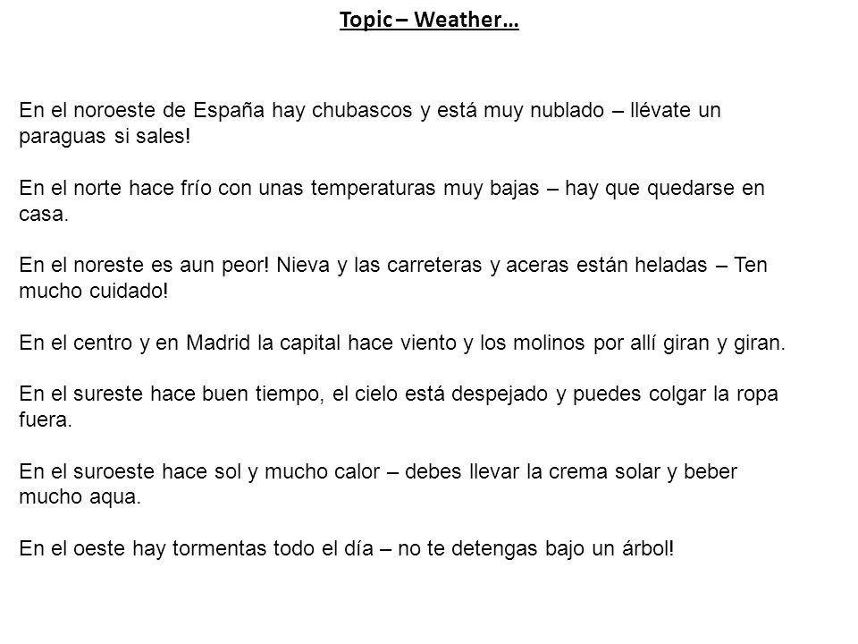 Topic – Weather… En el noroeste de España hay chubascos y está muy nublado – llévate un paraguas si sales.