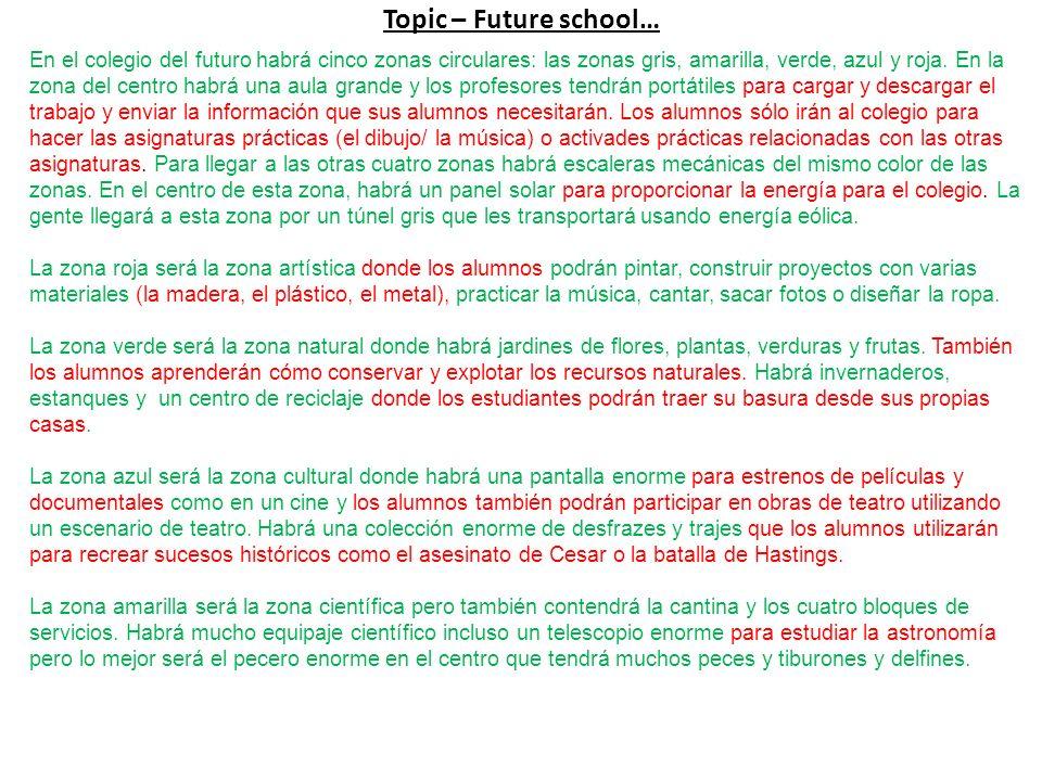 Topic – Future school… En el colegio del futuro habrá cinco zonas circulares: las zonas gris, amarilla, verde, azul y roja.