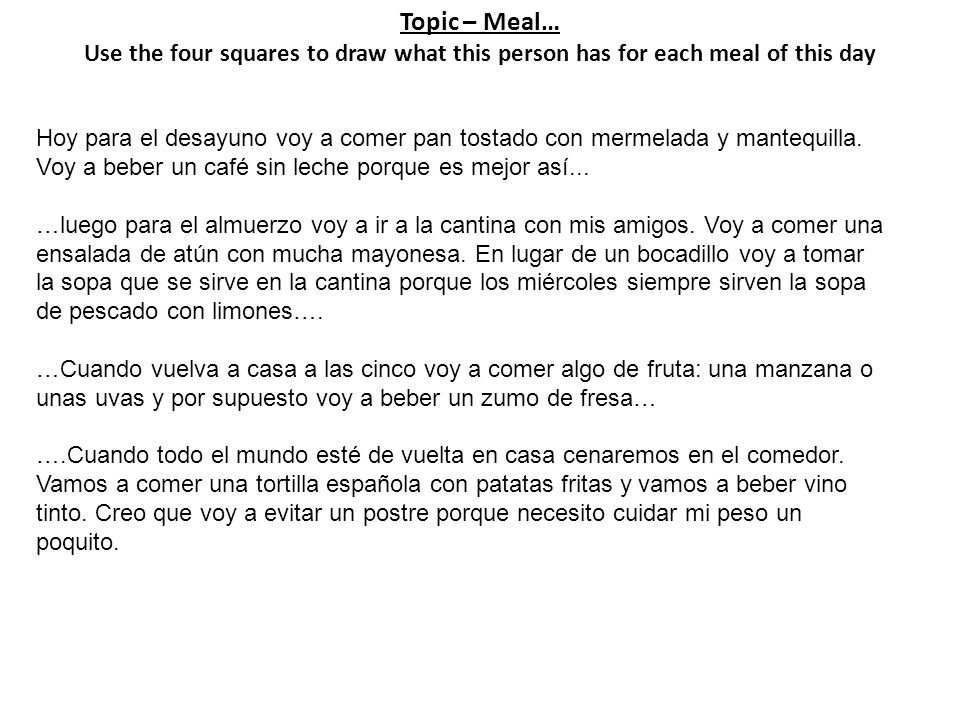 Topic – Meal… Use the four squares to draw what this person has for each meal of this day Hoy para el desayuno voy a comer pan tostado con mermelada y