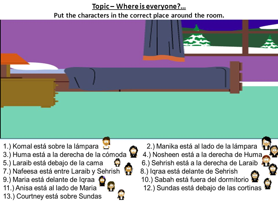 Topic – Where is everyone?… Put the characters in the correct place around the room.