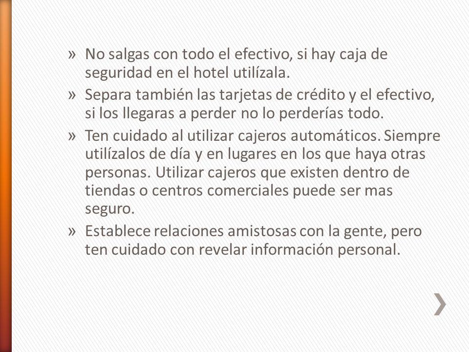 » No salgas con todo el efectivo, si hay caja de seguridad en el hotel utilízala.