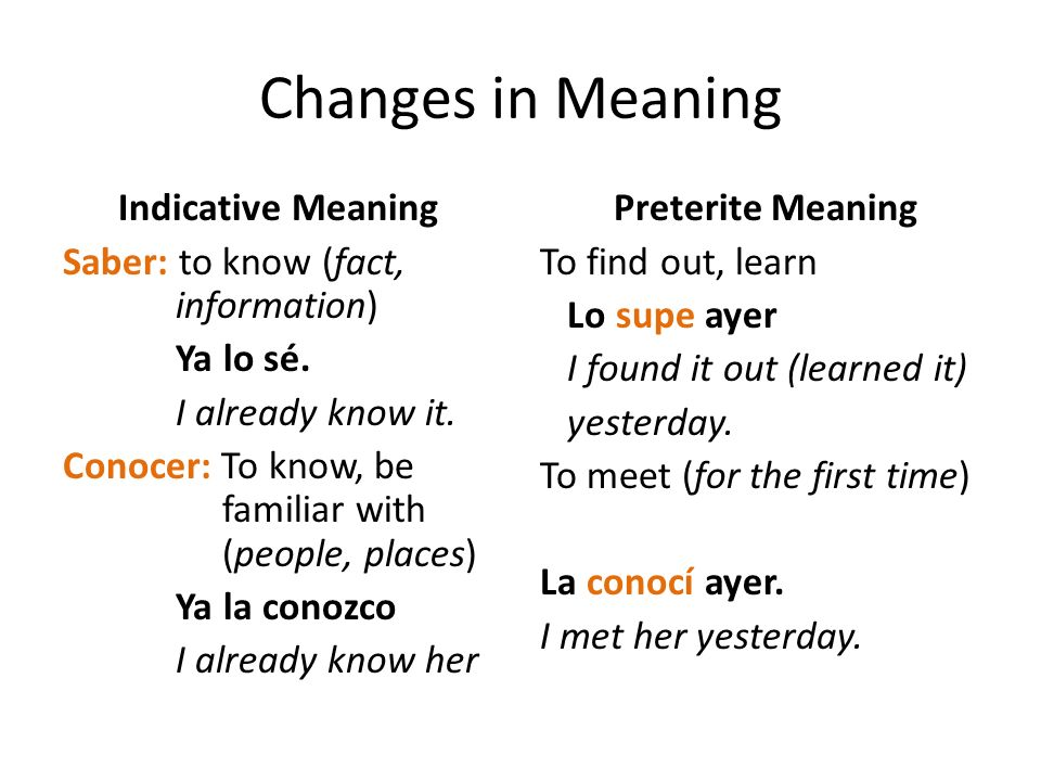 Changes in Meaning Indicative Meaning Saber: to know (fact, information) Ya lo sé. I already know it. Conocer: To know, be familiar with (people, plac