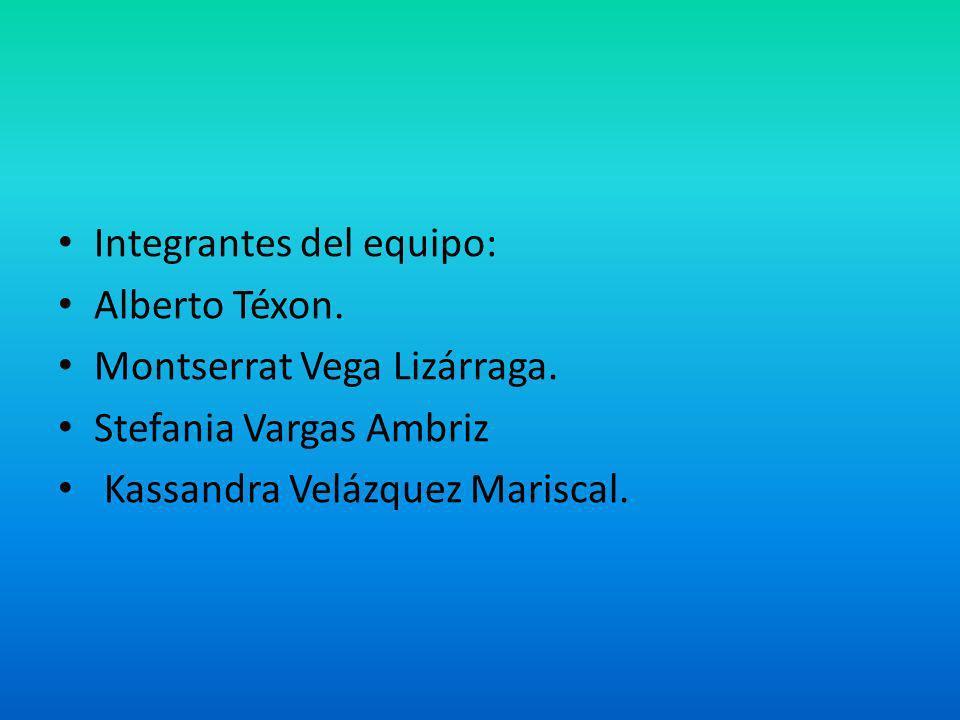 Integrantes del equipo: Alberto Téxon. Montserrat Vega Lizárraga. Stefania Vargas Ambriz Kassandra Velázquez Mariscal.