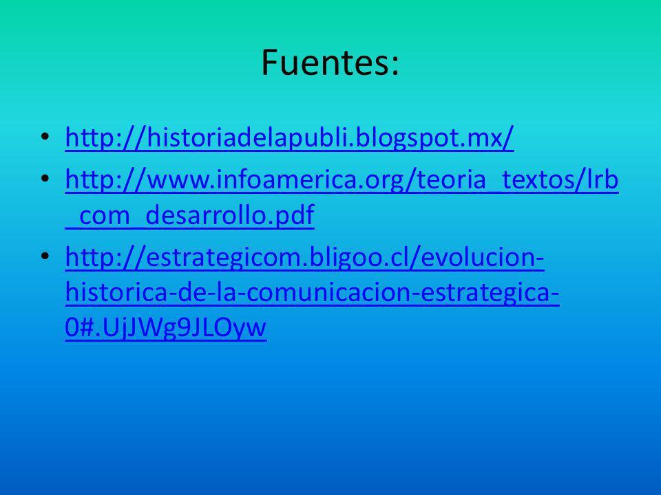 Fuentes: http://historiadelapubli.blogspot.mx/ http://www.infoamerica.org/teoria_textos/lrb _com_desarrollo.pdf http://www.infoamerica.org/teoria_text