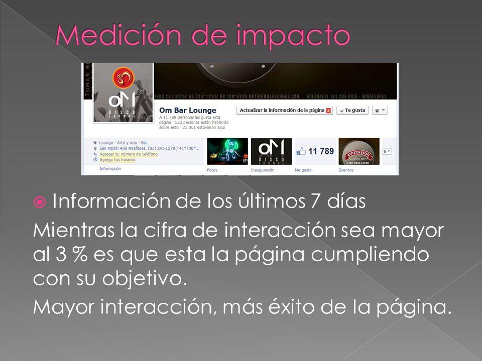 Información de los últimos 7 días Mientras la cifra de interacción sea mayor al 3 % es que esta la página cumpliendo con su objetivo. Mayor interacció