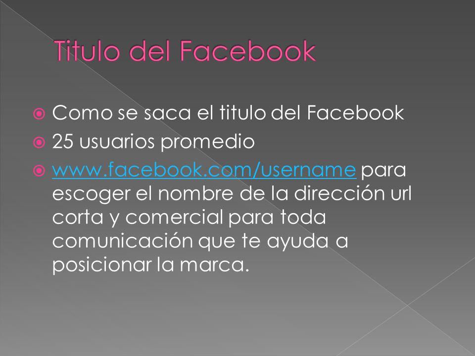 Como se saca el titulo del Facebook 25 usuarios promedio www.facebook.com/username para escoger el nombre de la dirección url corta y comercial para t