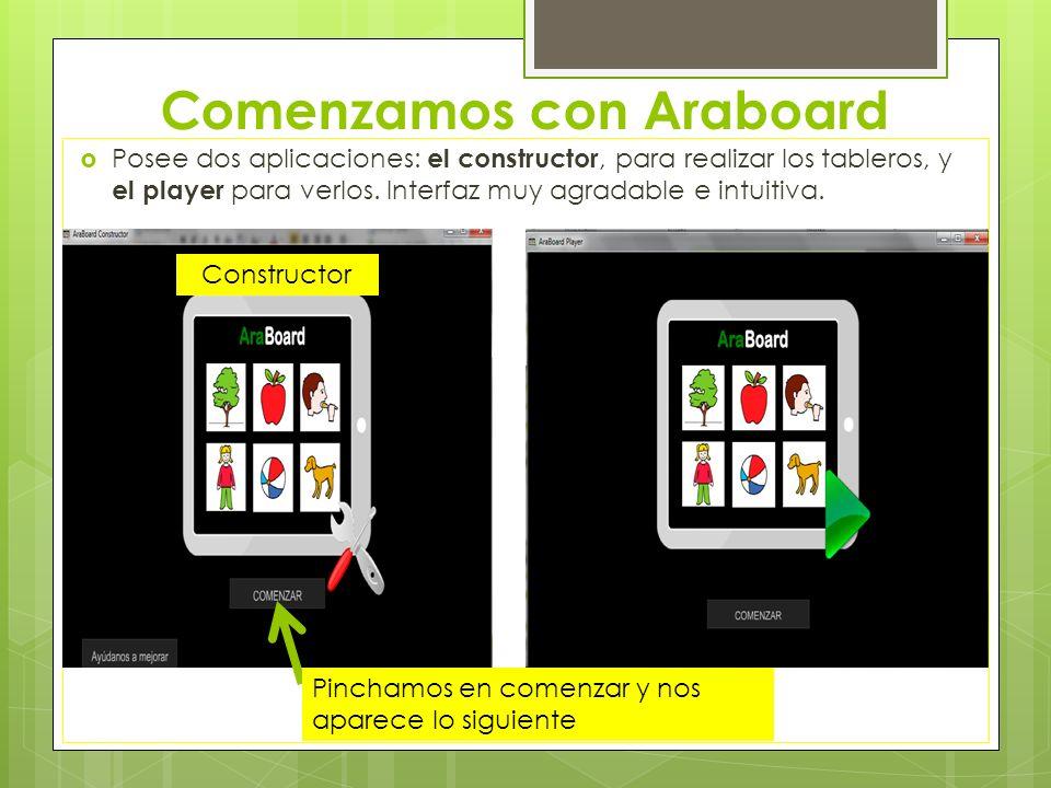 Comenzamos con Araboard Posee dos aplicaciones: el constructor, para realizar los tableros, y el player para verlos. Interfaz muy agradable e intuitiv