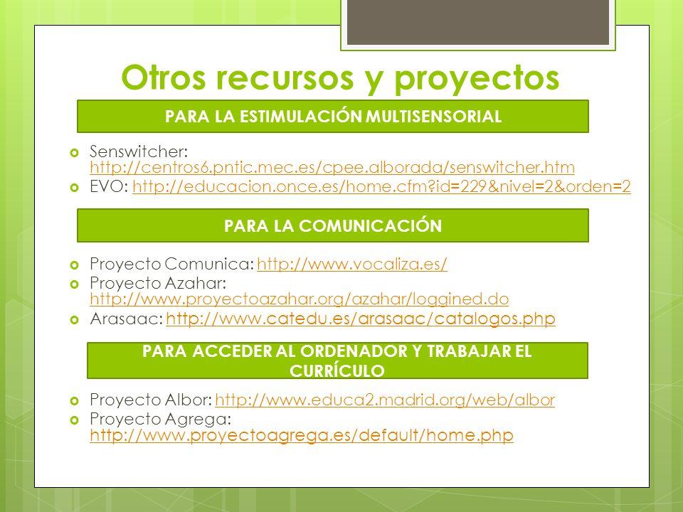 Otros recursos y proyectos Senswitcher: http://centros6.pntic.mec.es/cpee.alborada/senswitcher.htm http://centros6.pntic.mec.es/cpee.alborada/senswitc