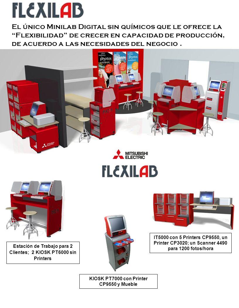 Estación de Trabajo para 2 Clientes; 2 KIOSK PT6000 sin Printers KIOSK PT7000 con Printer CP9550 y Mueble IT5000 con 5 Printers CP9550, un Printer CP3