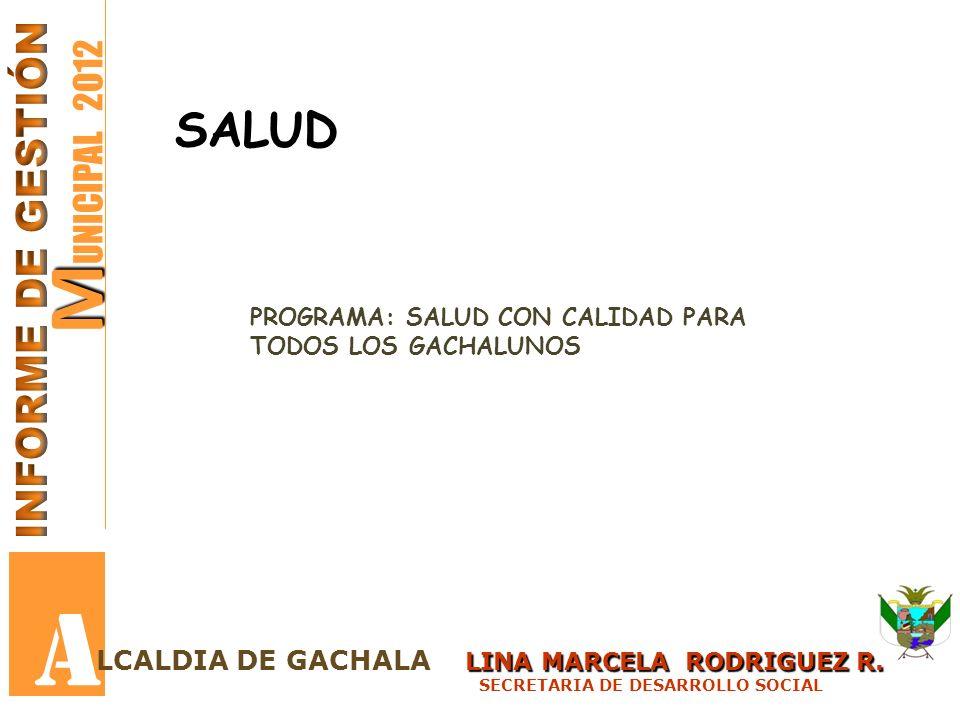 M M UNICIPAL 2012 A PROGRAMAINDICADOR META DE RESULTADO VALOR ESPERADO RESULTADO CUATRIENIO META CUTRENIOMETA 2012META EJECUTADORECURSOS EJECUTADO Garantizar la afiliación al Sistema General de Seguridad en Salud al 100% de la población en pobre y vulnerable en el municipio de Gachalá.
