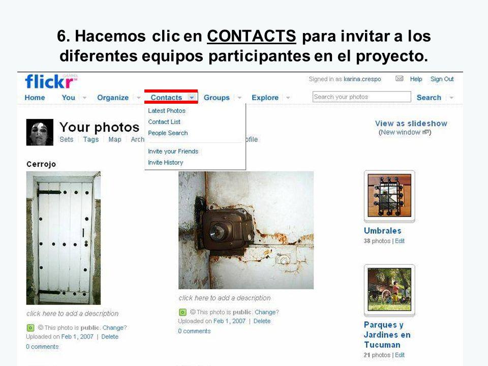 6. Hacemos clic en CONTACTS para invitar a los diferentes equipos participantes en el proyecto.