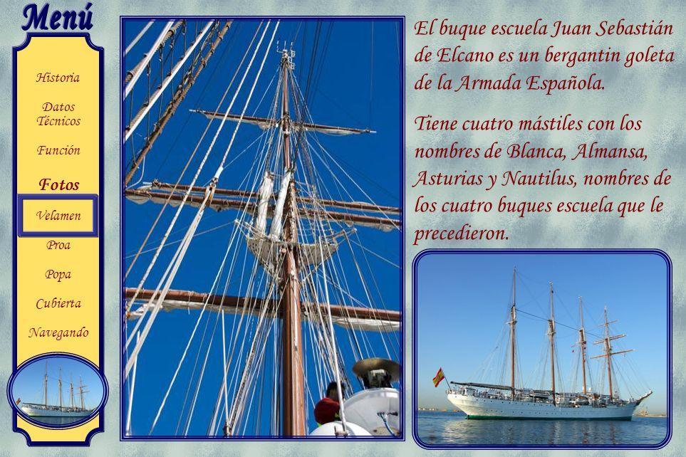Historia Datos Técnicos Función Fotos Velamen Proa Popa Cubierta Navegando Embajada flotante El buque se ha convertido en un bello símbolo de España q