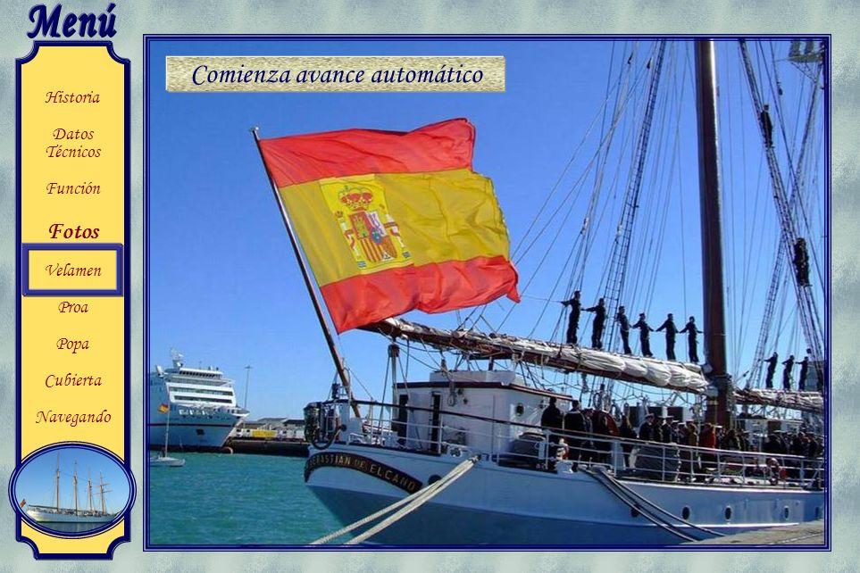Historia Datos Técnicos Función Fotos Velamen Proa Popa Cubierta Navegando El buque escuela Juan Sebastián de Elcano es un bergantin goleta de la Arma