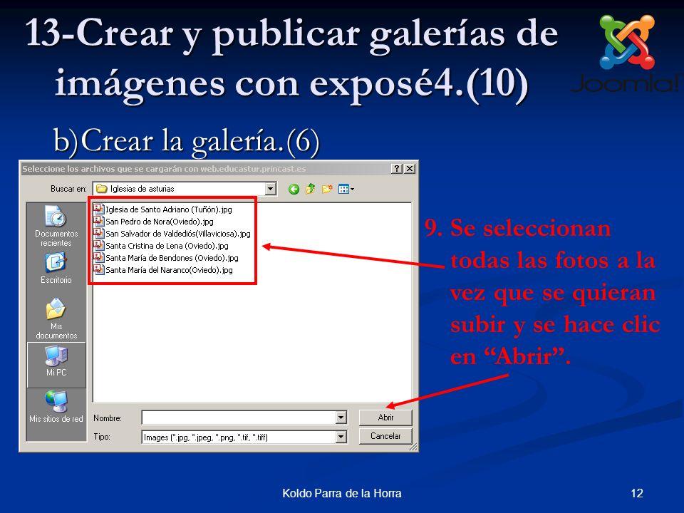 12Koldo Parra de la Horra 13-Crear y publicar galerías de imágenes con exposé4.(10) 9.Se seleccionan todas las fotos a la vez que se quieran subir y s