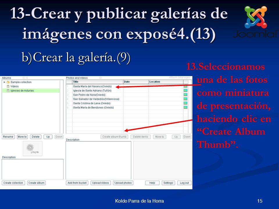 15Koldo Parra de la Horra 13-Crear y publicar galerías de imágenes con exposé4.(13) 13.Seleccionamos una de las fotos como miniatura de presentación,