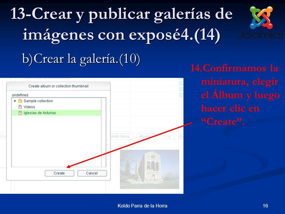 16Koldo Parra de la Horra 13-Crear y publicar galerías de imágenes con exposé4.(14) 14.Confirmamos la miniatura, elegir el Álbum y luego hacer clic en