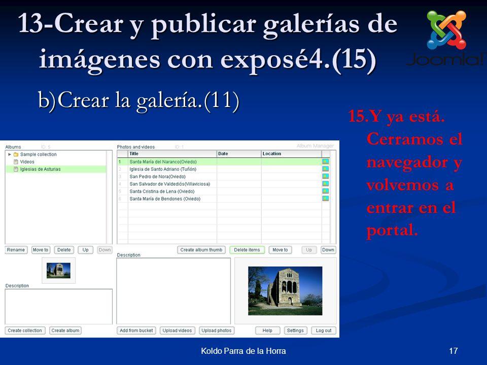 17Koldo Parra de la Horra 13-Crear y publicar galerías de imágenes con exposé4.(15) 15.Y ya está. Cerramos el navegador y volvemos a entrar en el port