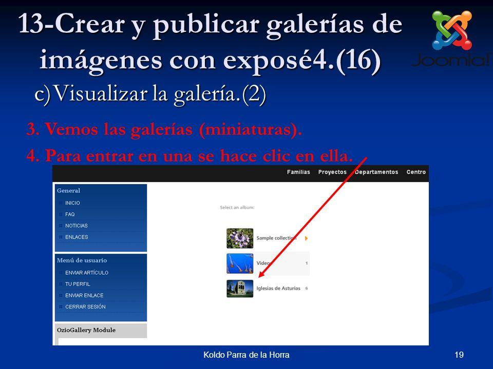 19Koldo Parra de la Horra 13-Crear y publicar galerías de imágenes con exposé4.(16) 3.Vemos las galerías (miniaturas). 4.Para entrar en una se hace cl