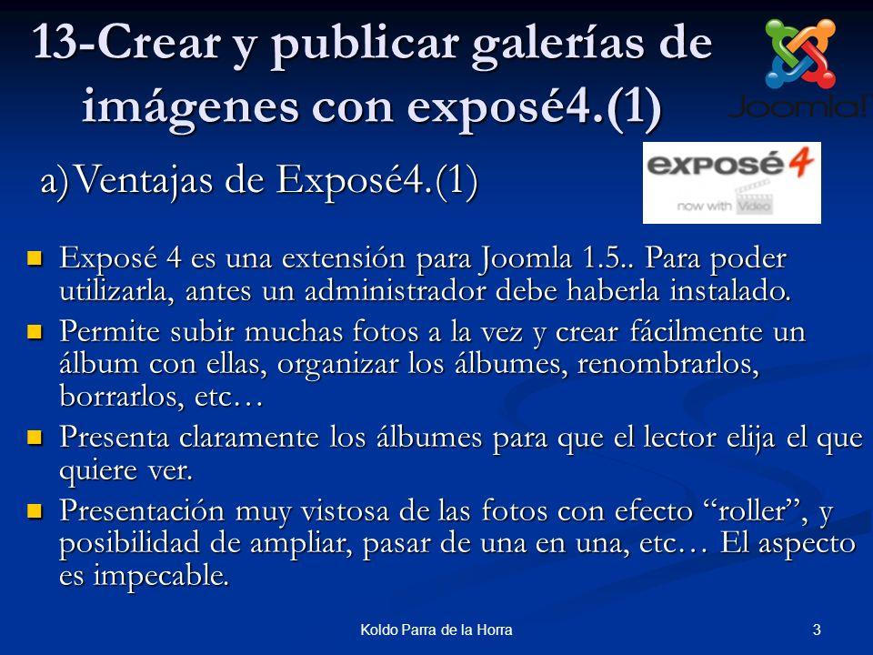 3Koldo Parra de la Horra 13-Crear y publicar galerías de imágenes con exposé4.(1) Exposé 4 es una extensión para Joomla 1.5.. Para poder utilizarla, a