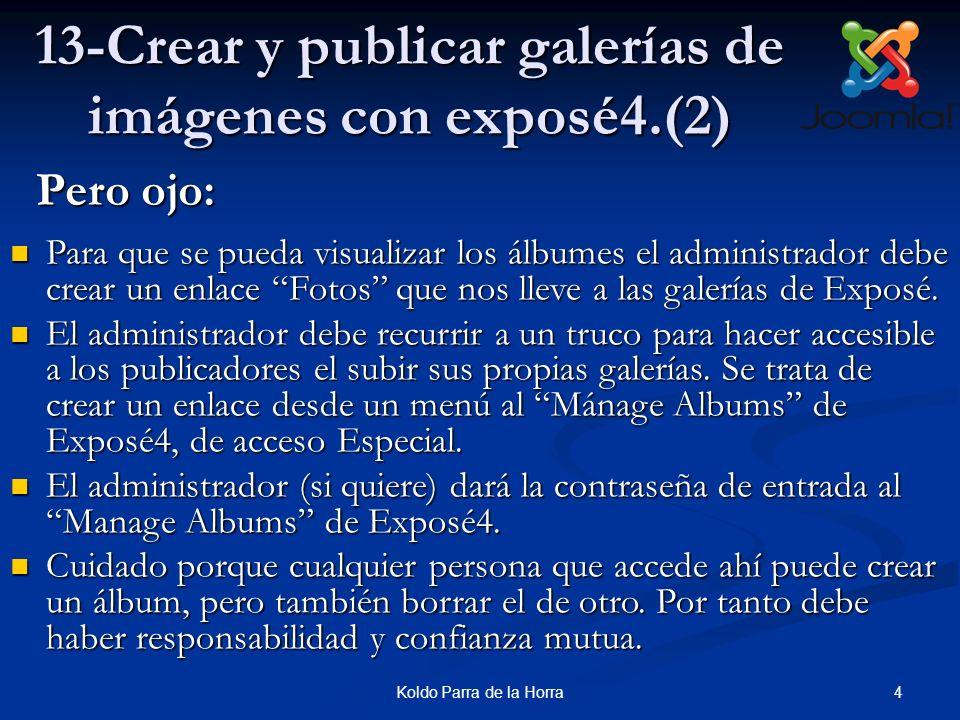 15Koldo Parra de la Horra 13-Crear y publicar galerías de imágenes con exposé4.(13) 13.Seleccionamos una de las fotos como miniatura de presentación, haciendo clic en Create Album Thumb.