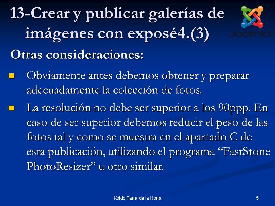 16Koldo Parra de la Horra 13-Crear y publicar galerías de imágenes con exposé4.(14) 14.Confirmamos la miniatura, elegir el Álbum y luego hacer clic en Create.