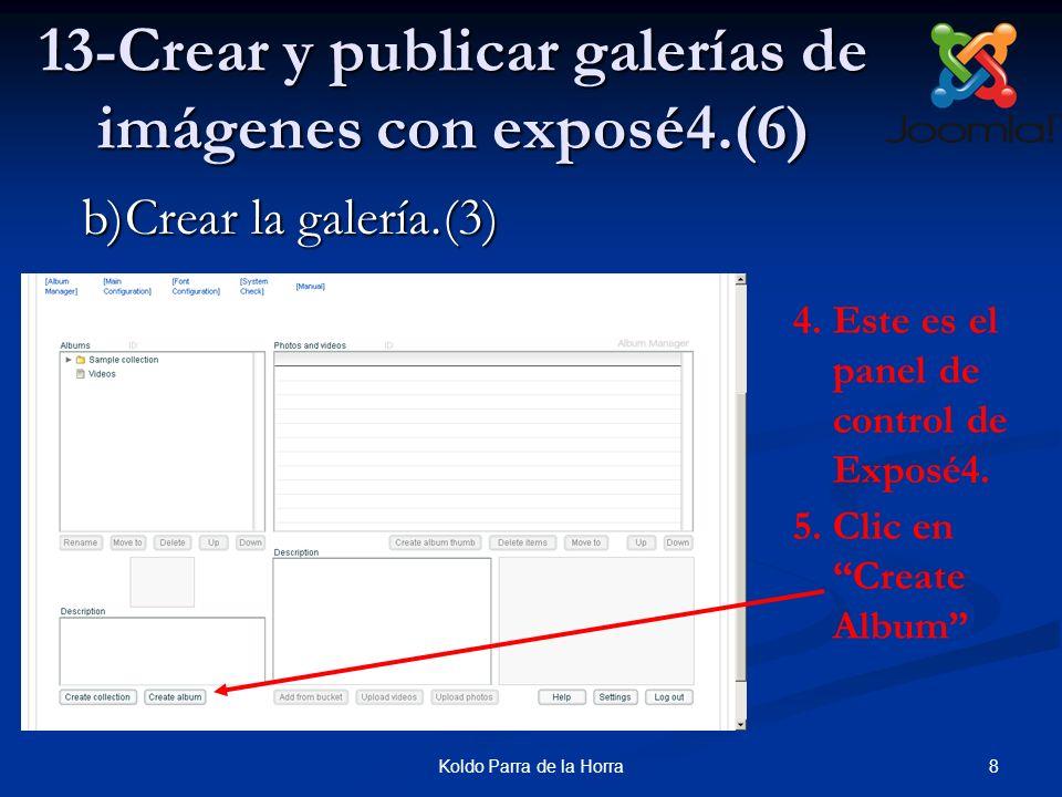 8Koldo Parra de la Horra 13-Crear y publicar galerías de imágenes con exposé4.(6) 4.Este es el panel de control de Exposé4. 5.Clic en Create Album b)C