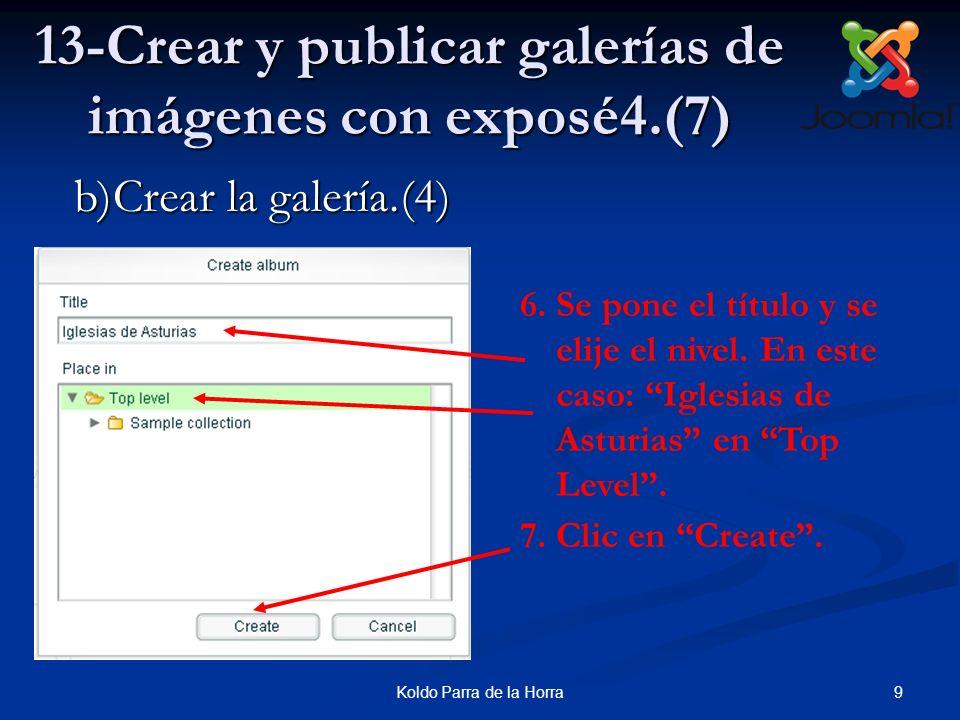 9Koldo Parra de la Horra 13-Crear y publicar galerías de imágenes con exposé4.(7) 6.Se pone el título y se elije el nivel. En este caso: Iglesias de A